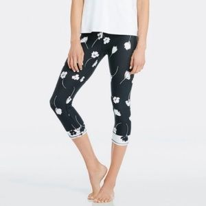 Fabletics Black And White Floral Crop Leggings